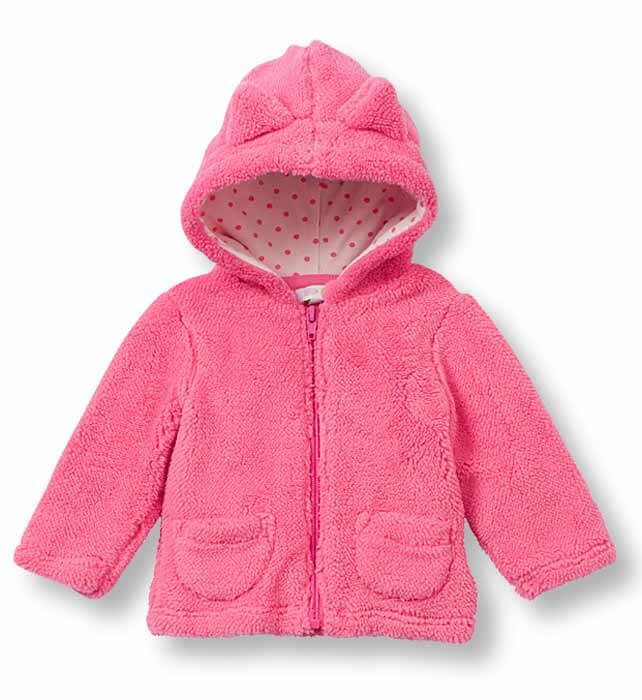 Girls Toddler Plush Zip Front Hooded Jacket