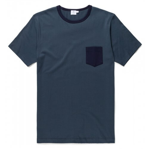 Mens Long-Staple Cotton T-Shirt with Contrast Pocket