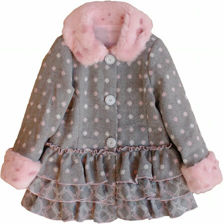 Girls Polka Dots Ruffle Coat