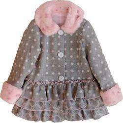 Girls Polka Dots Ruffle Coat