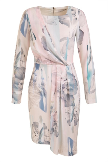 Womens Long Sleeve Printed Dress