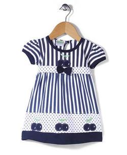Kids Short Sleeves Frock Vertical Stripes Printed