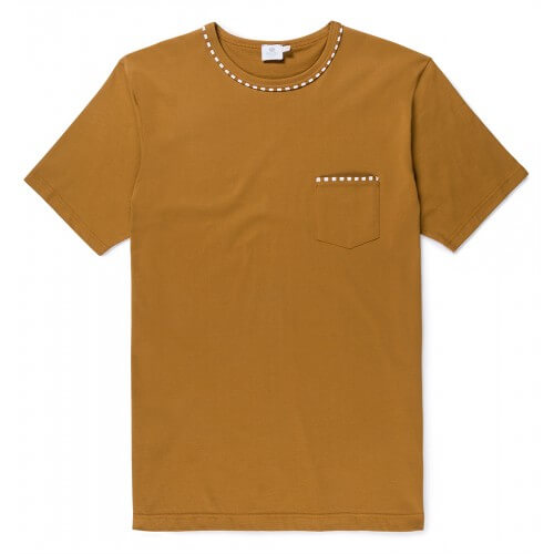 Mens Long-Staple Cotton T-Shirt with English Stripe Piping Detail