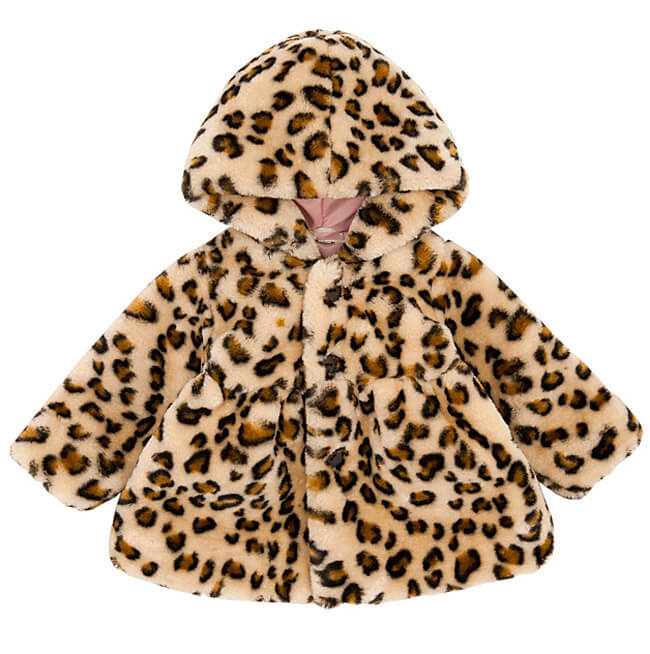 Girls Hooded Leopard Print Jacket