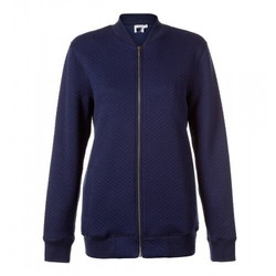 Womens Quilted Cotton Zip-Through Bomber Jacket