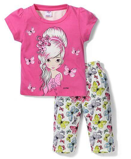 Kids Short Sleeves Printed Top & Leggings Night Suit