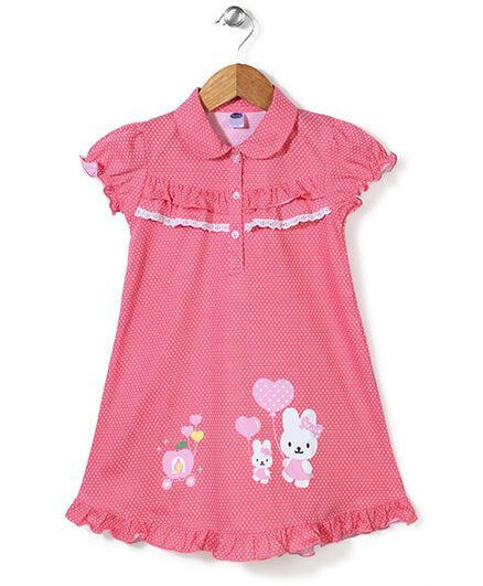 Kids Short Sleeves Nighty Dotted Print