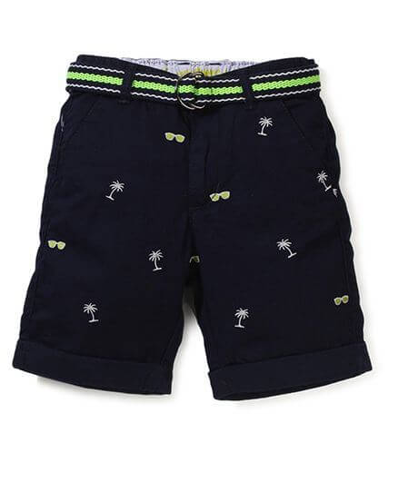 Kids Shorts With Belt Multi Print
