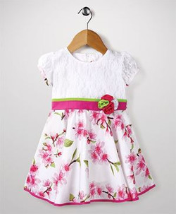 Kids Short Sleeves Floral Print Frock With Floral Applique