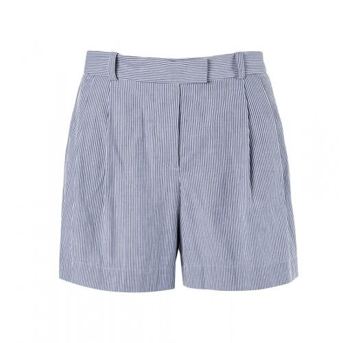 Womens Pleat Front Cotton Short with Stripe