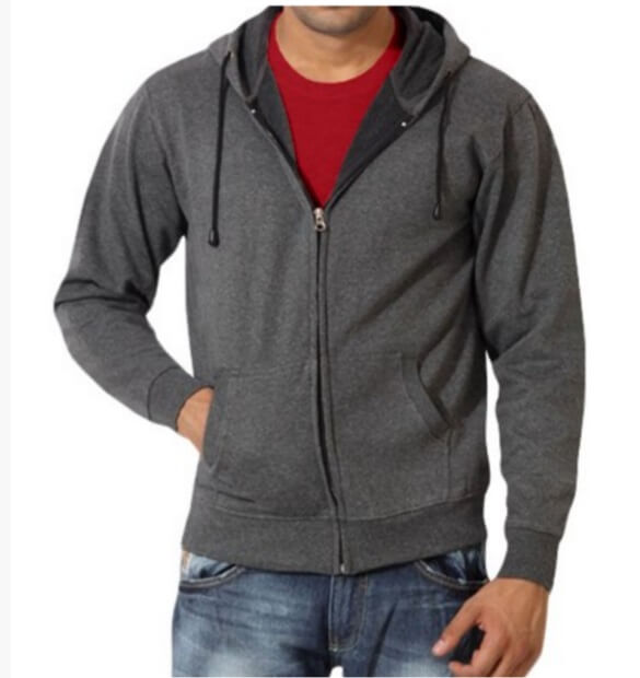 Mens Cotton Hoody With Zip Front