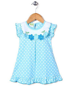Kids Short Sleeves Dotted Frock