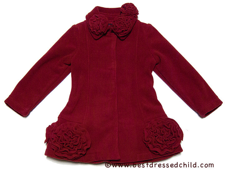 Girls Polar Fleece Coat with Flower Trim