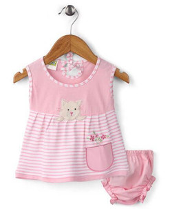 Kids Frock With Bloomer Kitty Patch