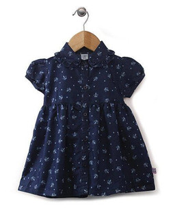 Kids Cap Sleeves Dot Print Denim Frock