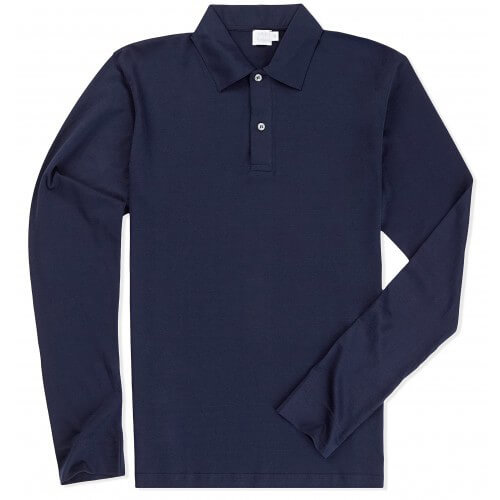 Mens Long-Staple Cotton Long Sleeve Jersey Polo Shirt