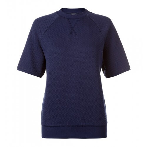 Womens Quilted Jacquard Cotton Short Sleeve Sweatshirt