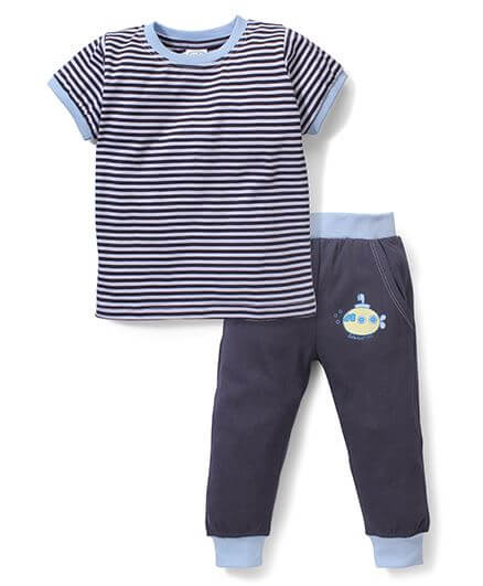 Kids Half Sleeves Striped T-Shirt & Pajama Print