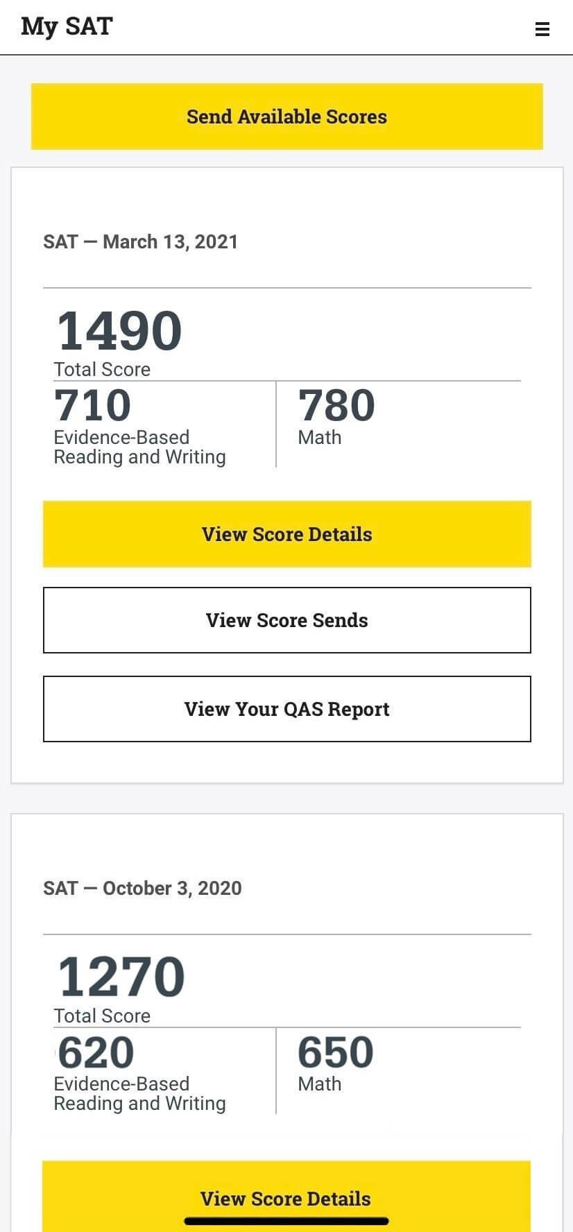 Screenshot of SAT Scores - from 1270 to 1490! COLLEGE ADMISSIONS course, best COLLEGE ADMISSIONS, Common Application, Login To Common App, Common Application Login, Common Application Essay, Common Application Best Essays, Common Application Recommendation Letters, Common Application Letter Of Recommendation, Common Application Questions, Common Application Fee Waiver, What Is Common App Essay, When Does Common App, How Long Common App Essay, Common Application Vs Coalition Application, Admissions Expert UAE, Best SAT classes Dubai, Best SAT classes Abu Dhabi, Best SAT classes UAE, Best SAT training in Dubai, Best SAT training in Abu Dhabi, Best SAT course in Dubai, Best SAT course in Abu Dhabi, SAT Courses in Dubai, SAT Preparation Dubai, Best SAT Coaching in Dubai, Best SAT Coaching in Abu Dhabi, SAT UAE, SAT Coaching Dubai, MBA ADMISSIONS Dubai, MBA ADMISSIONS training, best MBA ADMISSIONS, SAT classes in Dubai, SAT prep Dubai, SAT Dubai, SAT training, SAT prep course UAE, SAT Abu Dhabi, Best SAT institute in Dubai, Best SAT institute in UAE, Best SAT institute in Abu Dhabi, Best SAT online coaching,