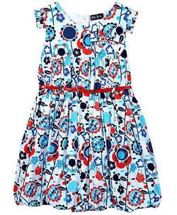 Kids Printed Dress With Belt