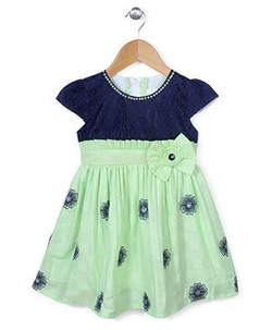 Kids Cap Sleeves Frock Bow Applique