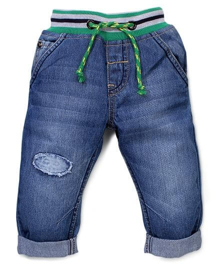 Kids Denim Full Length Jeans With Waist Band