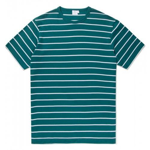 Mens Long-Staple Cotton T-Shirt with Quarter Stripe