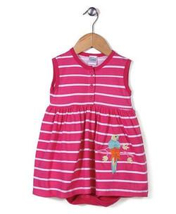 Kids Sleeveless Stripes Onesie Frock Printed