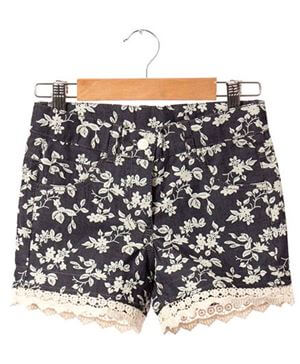 Kids Denim Floral Print Shorts