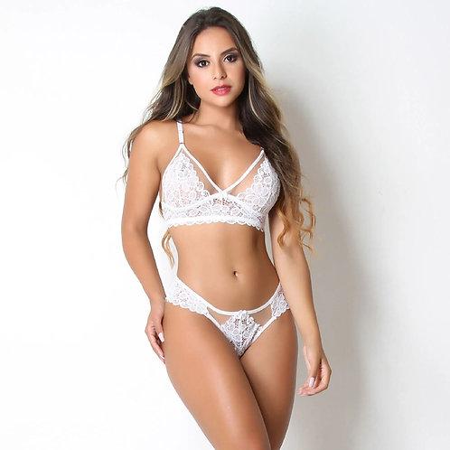 Conjunto Sexy sem Bojo em Renda e Tule Branco