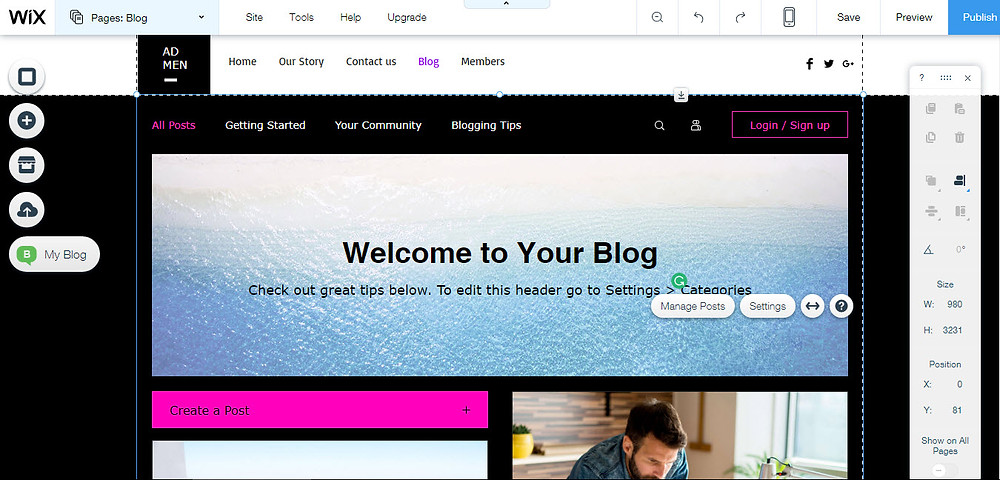 Create your blog using Wix CMS
