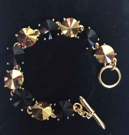Swarovski Crystal Black and Gold Bracelet