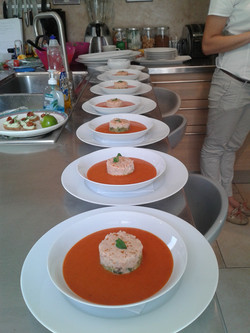Capsicum soup with crab cocktail
