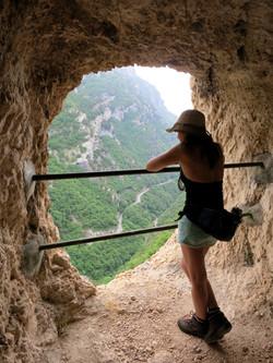 Pipeline walk above gorge