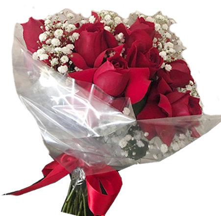 Buquê  com 08 Rosas Vermelhas