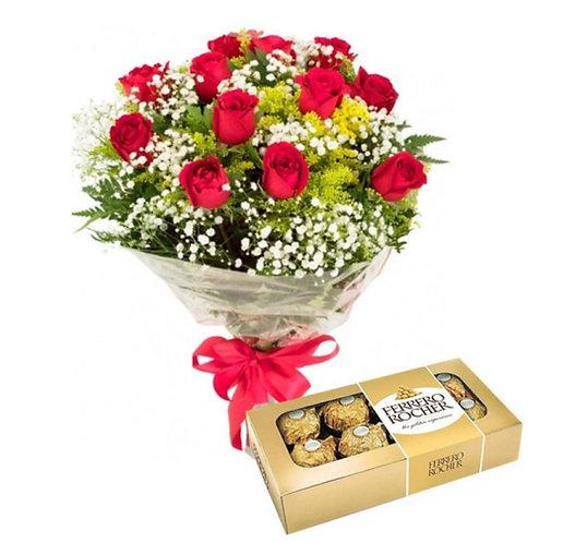 Buquê de 12 Rosas Nacionais c/ Ferrero