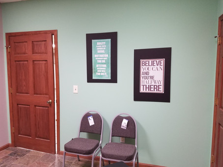 Office - the guys put Sis's office together with sentimental effects and inspirational quotes