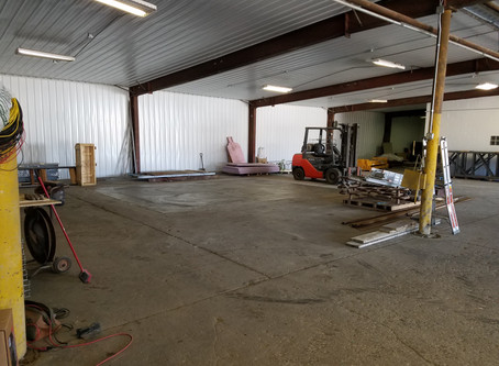 Front warehouse - tin on the ceiling and walls and a clean floor