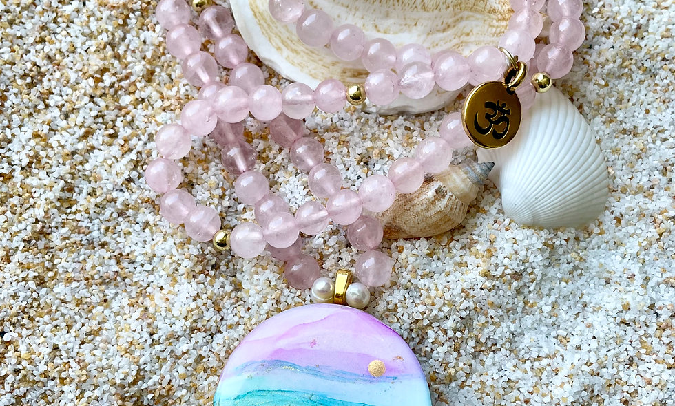 Rose Quartz Mala Necklace: Love