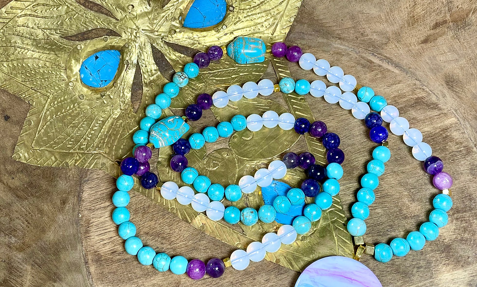 Turquoise and Amethyst Mala Necklace
