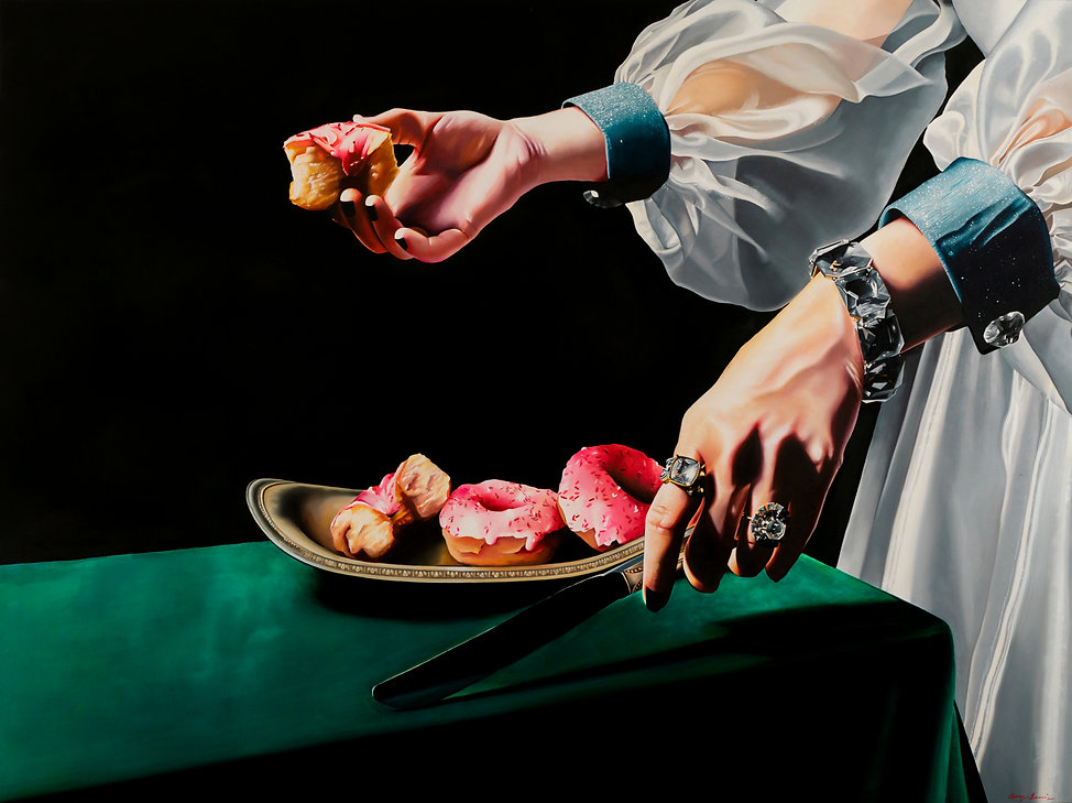 oil painting, oil paint, donut, donut painting, still life, fashion, hands, luxury, contemporary art, painting, woman painting, realism, realist painting, emerging artist, tacoma artist, pnw artist, Midnight Bite