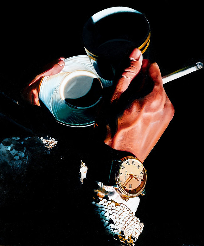 oil painting, coffee, coffee cup, cigarette, sequin jacket, oil paint, fashion, hands, luxury, contemporary art, painting, woman painting, realism, realist painting, emerging artist, tacoma artist, pnw artist, contemporary realism