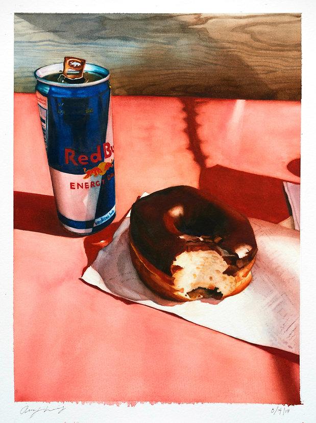 portrait, Redbull, still life, donut, pao's donuts, contemporary art, painting, woman painting, realism, realist painting, emerging artist, tacoma artist, pnw artist, covid-19 art, quarantine art, mask art, mask painting, Breakfast