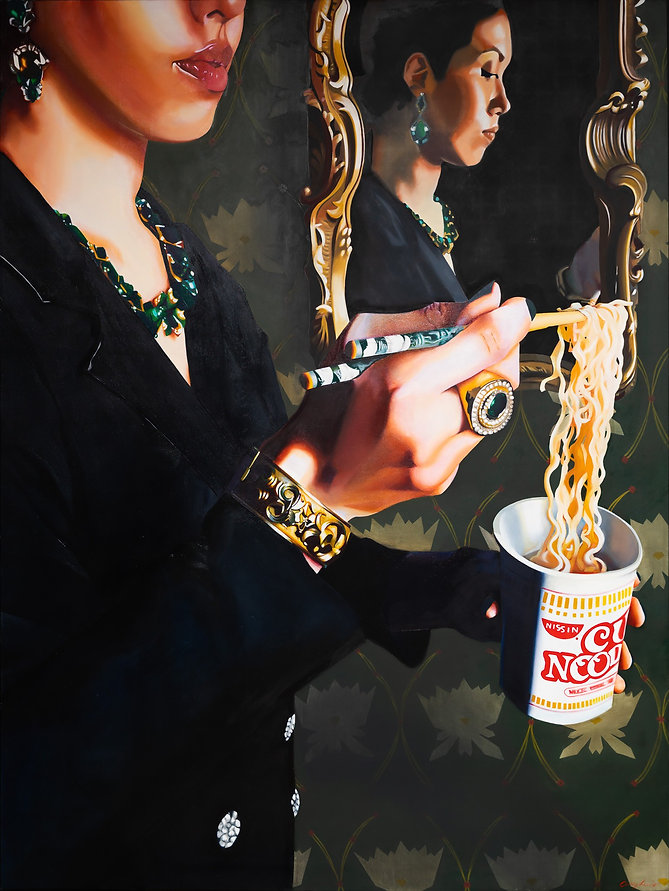 oil painting, woman portrait, hands, cup noodle, food painting, chopsticks, reflection, fashion, hands, luxury, contemporary art, painting, woman painting, realism, realist painting, emerging artist, tacoma artist, pnw artist, contemporary realism, Lunch on the GO
