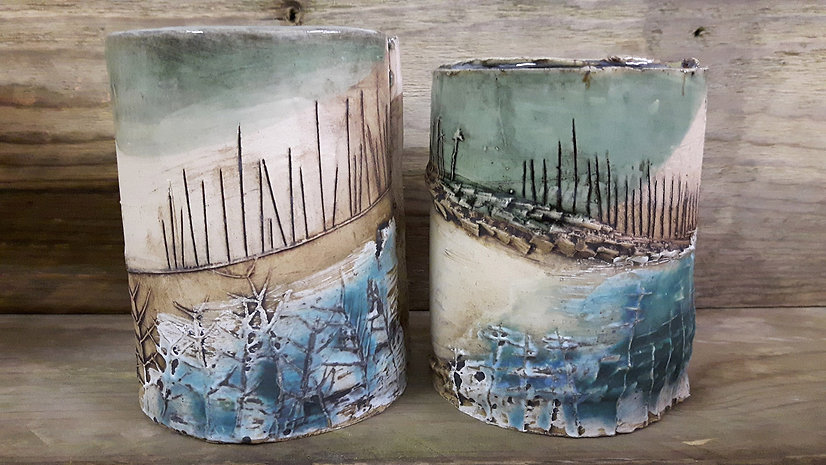Katie Smith Ceramics. Ceramics Landscape.  Ceramic Pot. Blue Glaze.