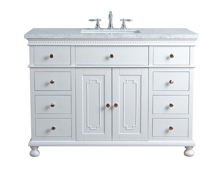 """Abigail Embellished 48"""" White Single Sink Vanity"""