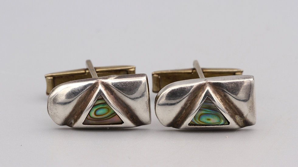 Taxco ESP Sterling and Abalone Cuff Links