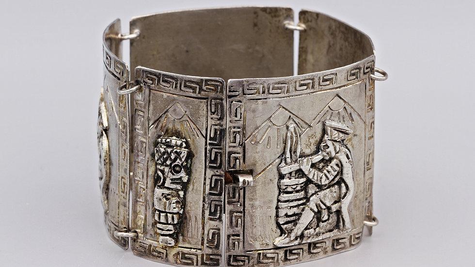 Large Sterling Silver Tribal Peruvian Bracelet