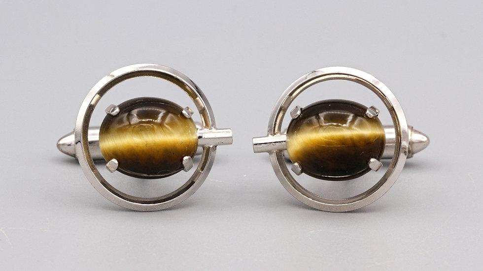 Krementz Sterling Silver And Cats Eye Cufflinks