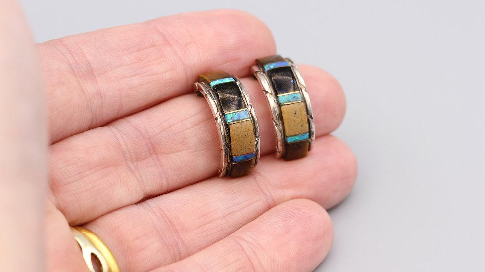 Colorful Stones Hoop Earrings